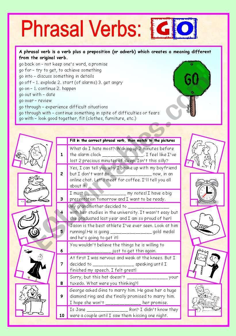 Phrasal verbs (4/10): GO worksheet