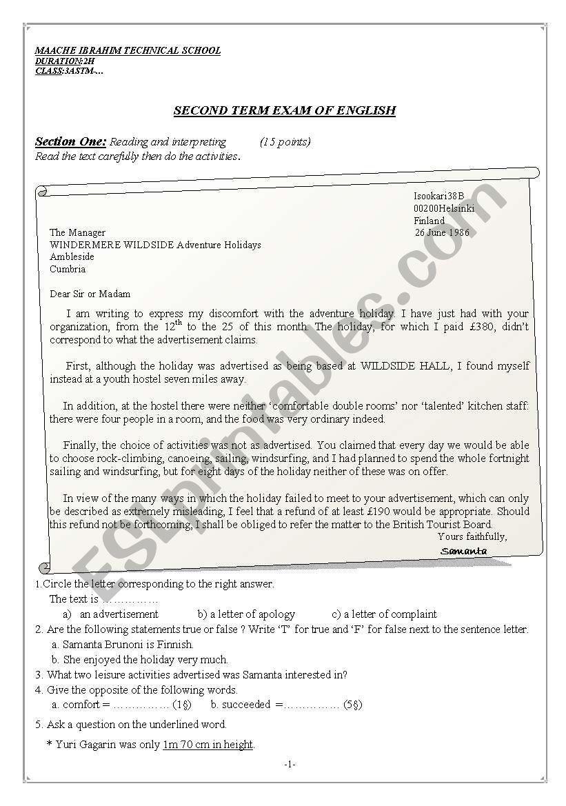 A letter of complaint worksheet