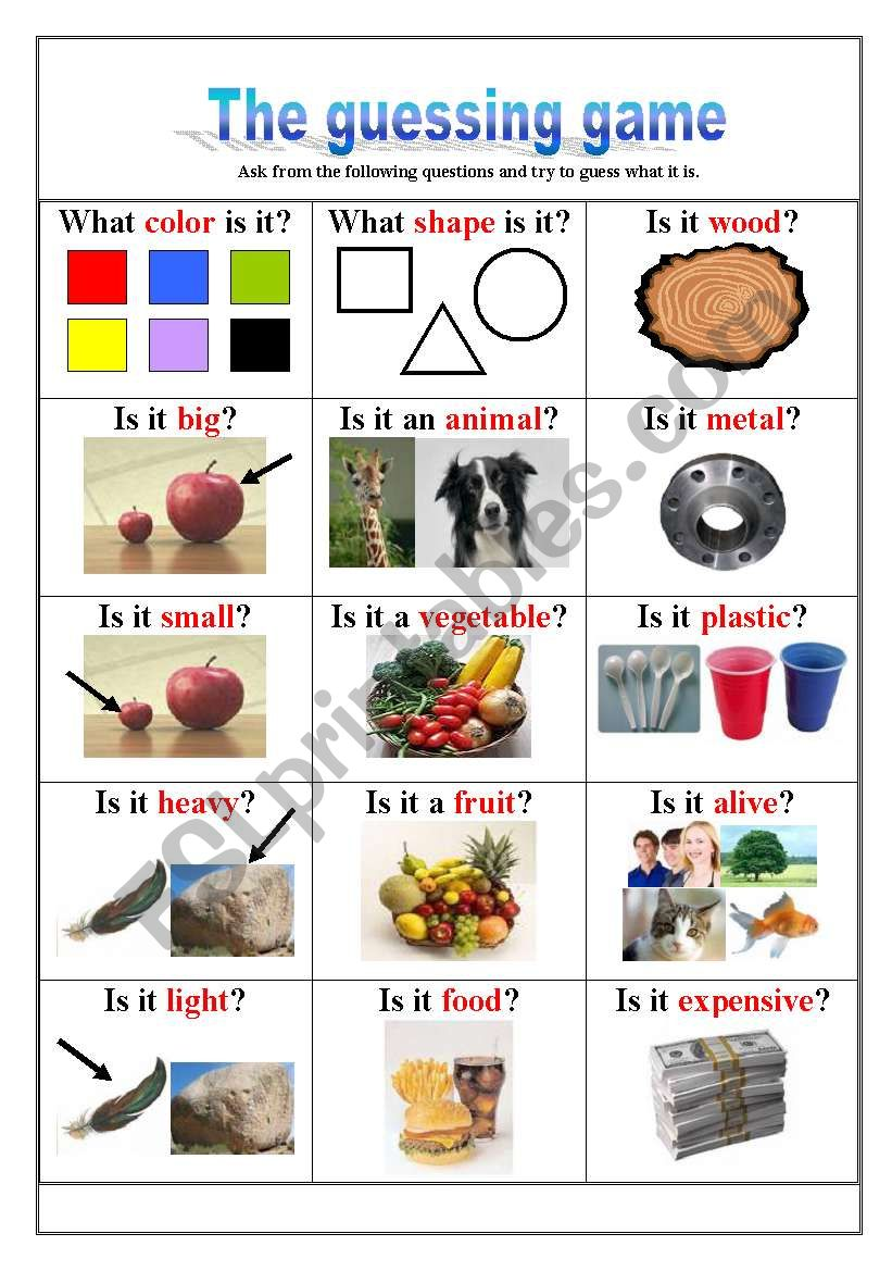 The Guessing Game - Description Questions - ESL worksheet by loyrob