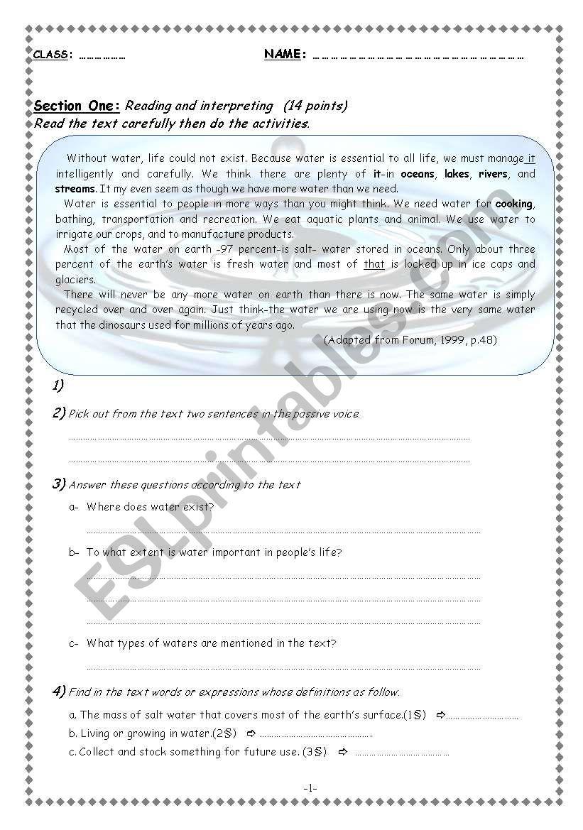 Water worksheet