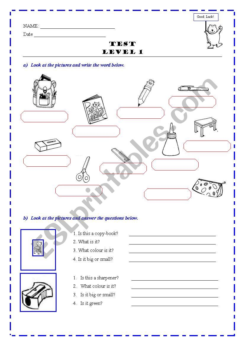 TEST  - Level 1 worksheet