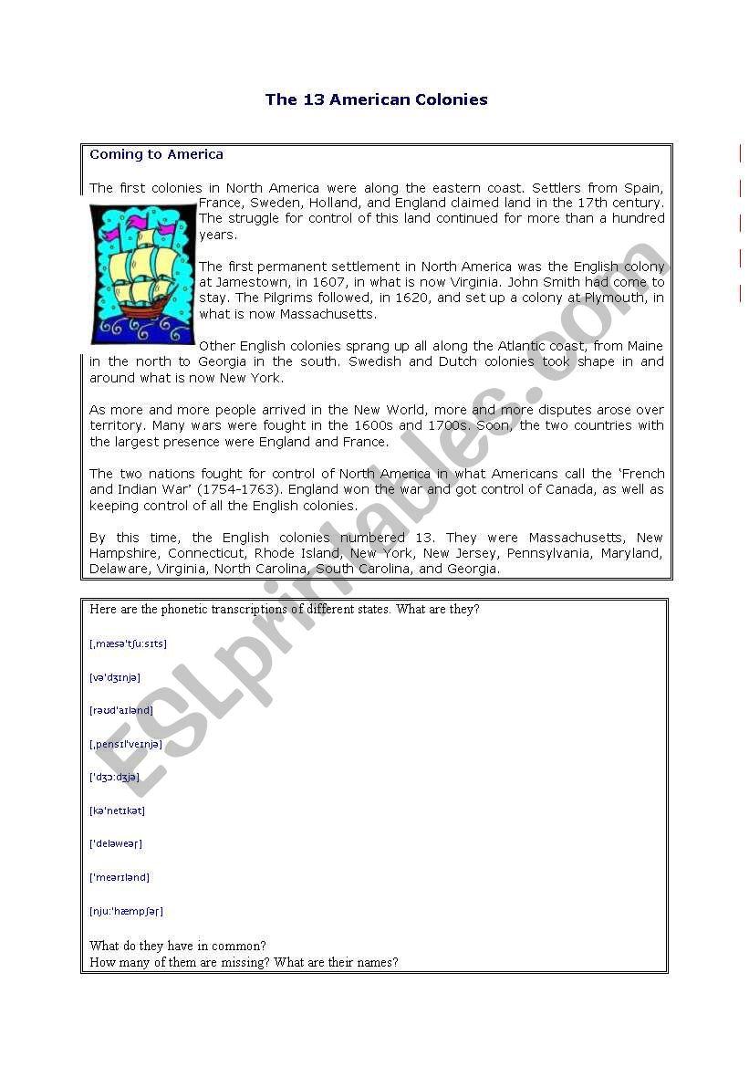 13 first American colonies 1/2 - ESL worksheet by cvrin
