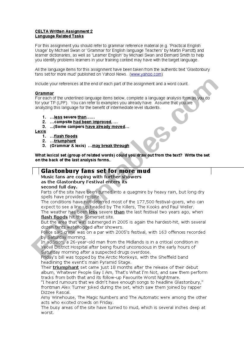 Language Analysis For Celta Assignment Esl Worksheet By