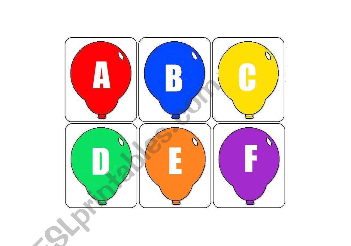 ABC ballons worksheet