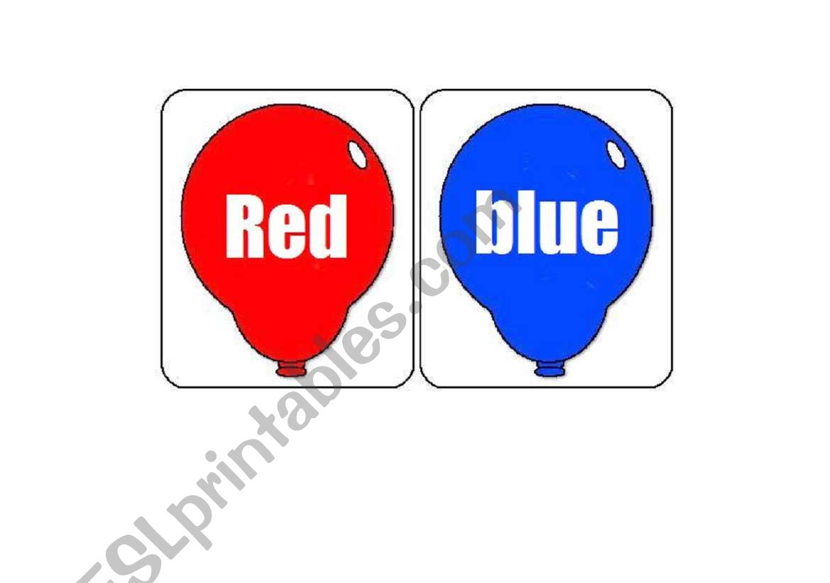 colours balloons worksheet