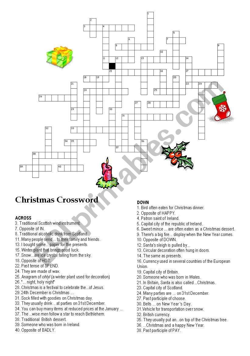 CHRISTMAS CROSSWORD I worksheet