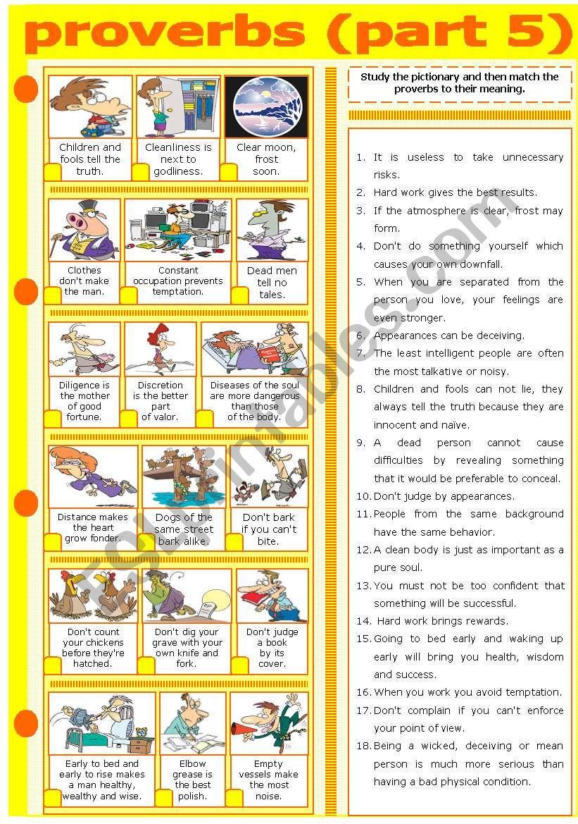 PROVERBS - PART 5 worksheet