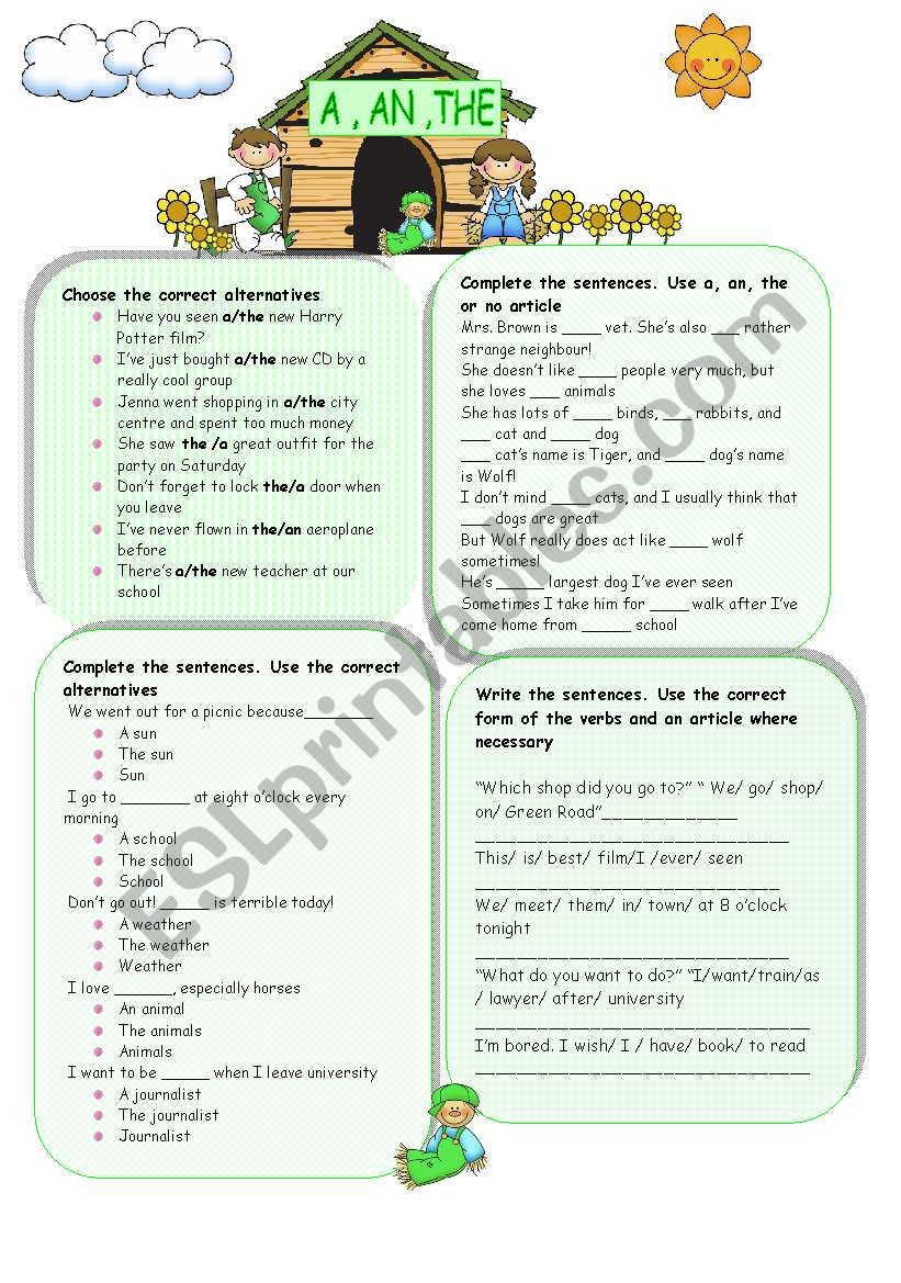 ARTICLES : A ,A N, THE  worksheet