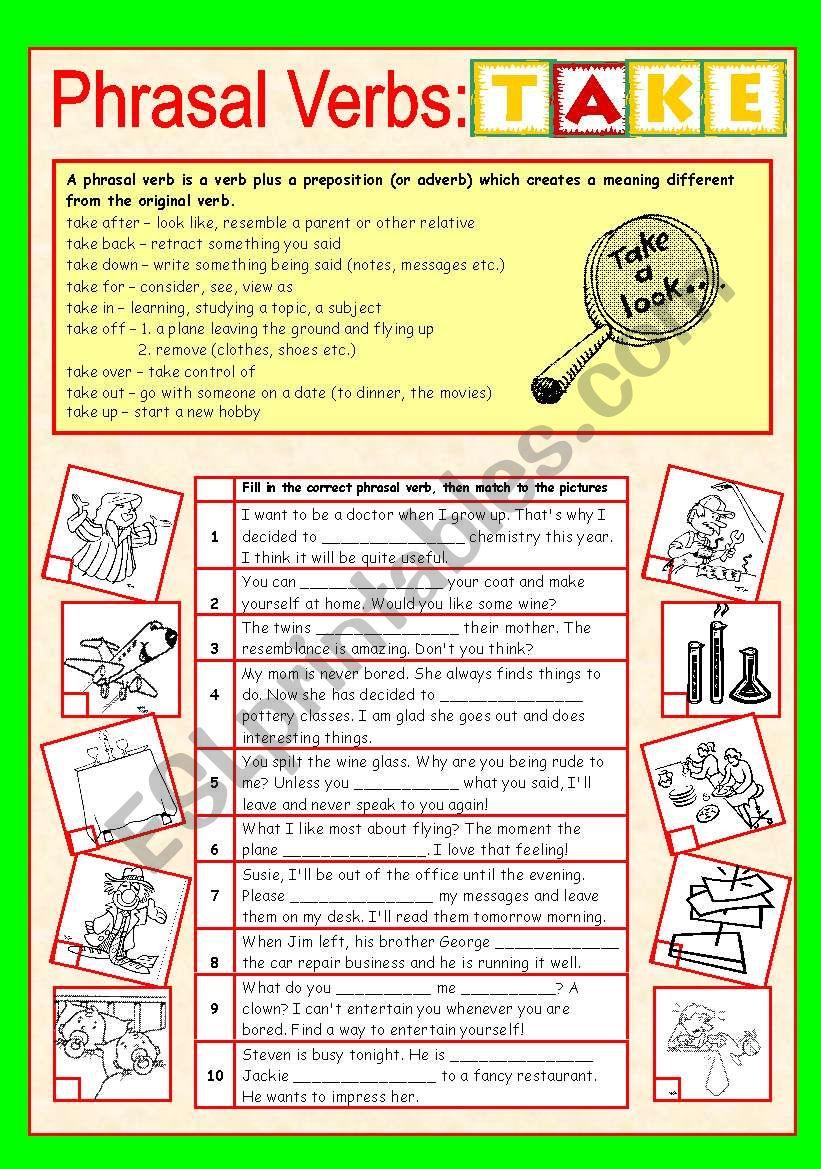 Phrasal Verbs (6/10): TAKE worksheet