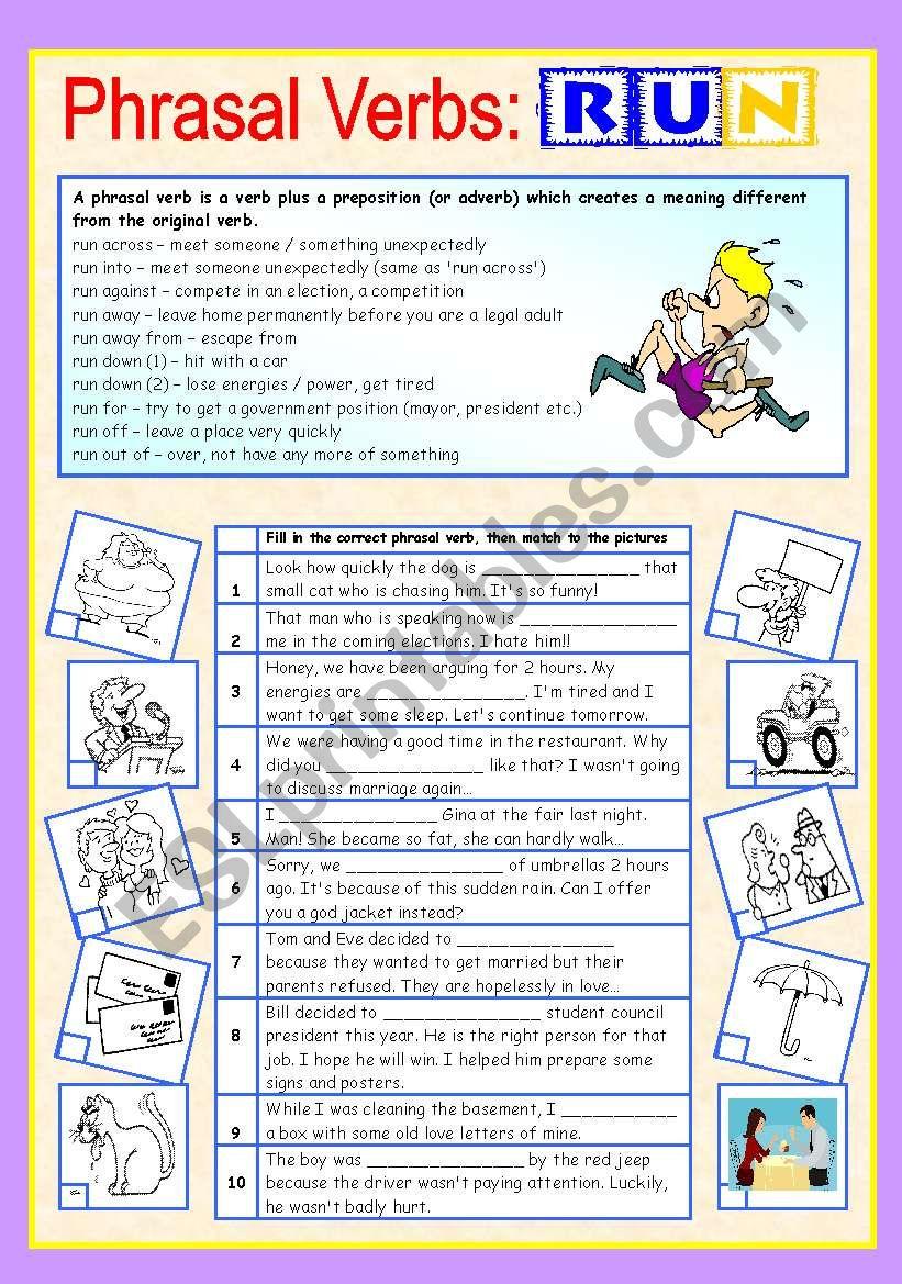 Phrasal verbs (5/10): RUN worksheet