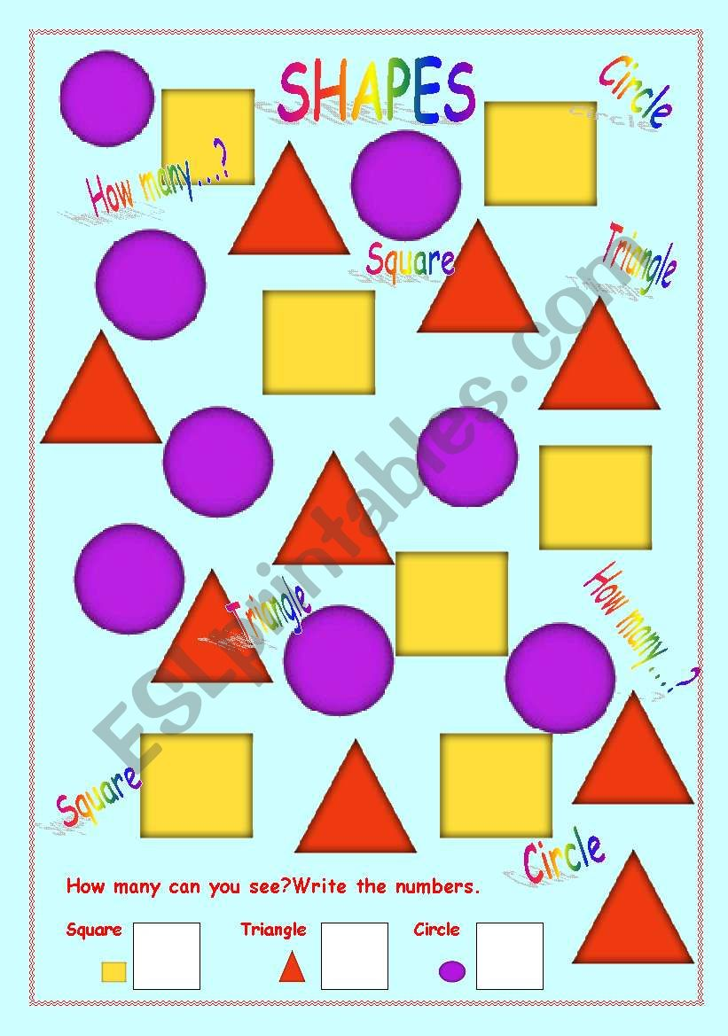 english worksheets  how many triangles squares and circles