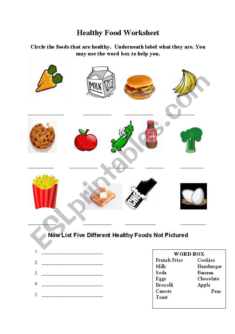 English worksheets: Healthy Foods