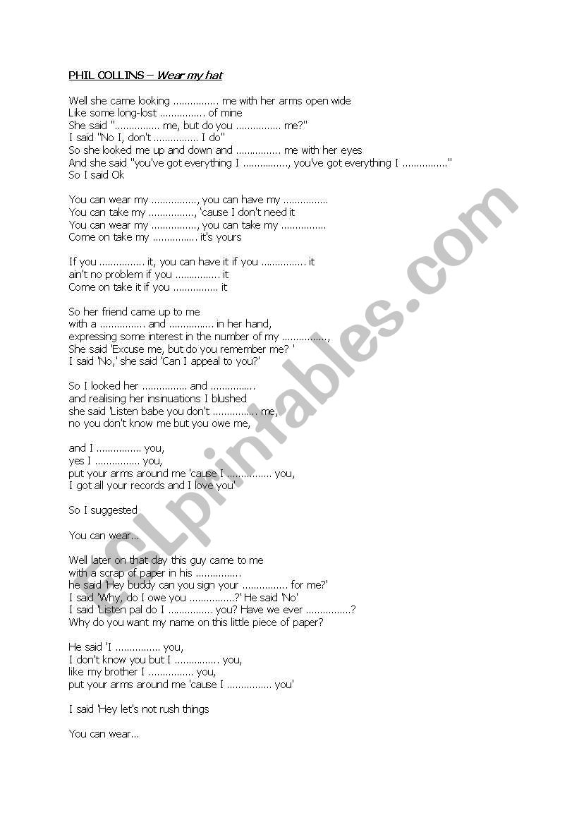 Phil Collins - Wear my hat worksheet