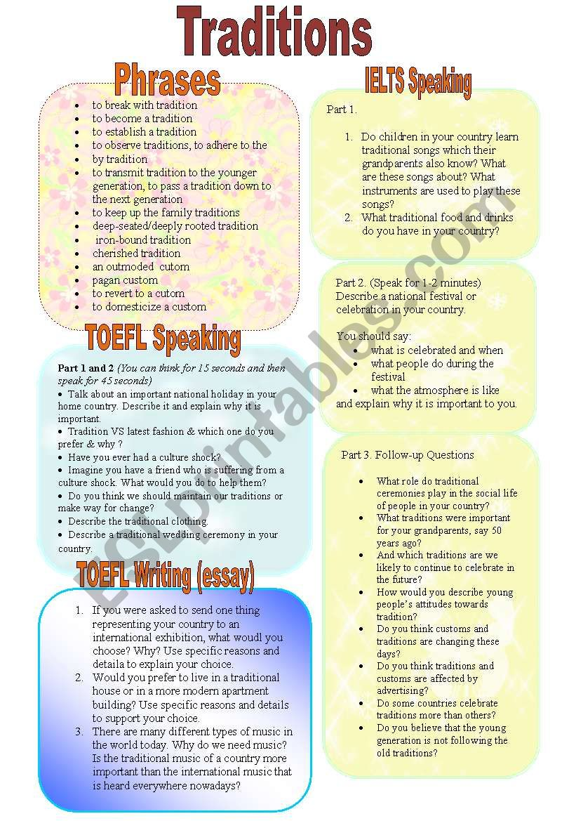 Traditions (Part 1/3). Prepare for Exams: IELTS and TOEFL