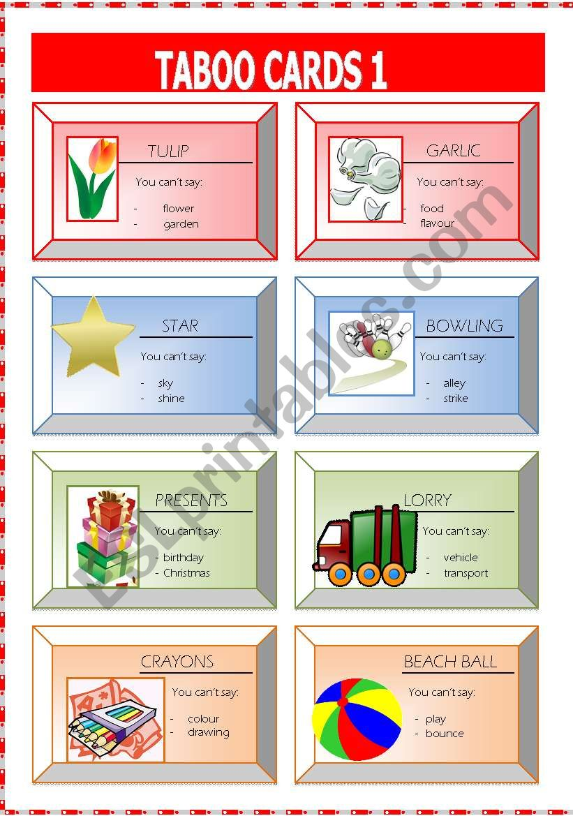 taboo cards1 worksheet