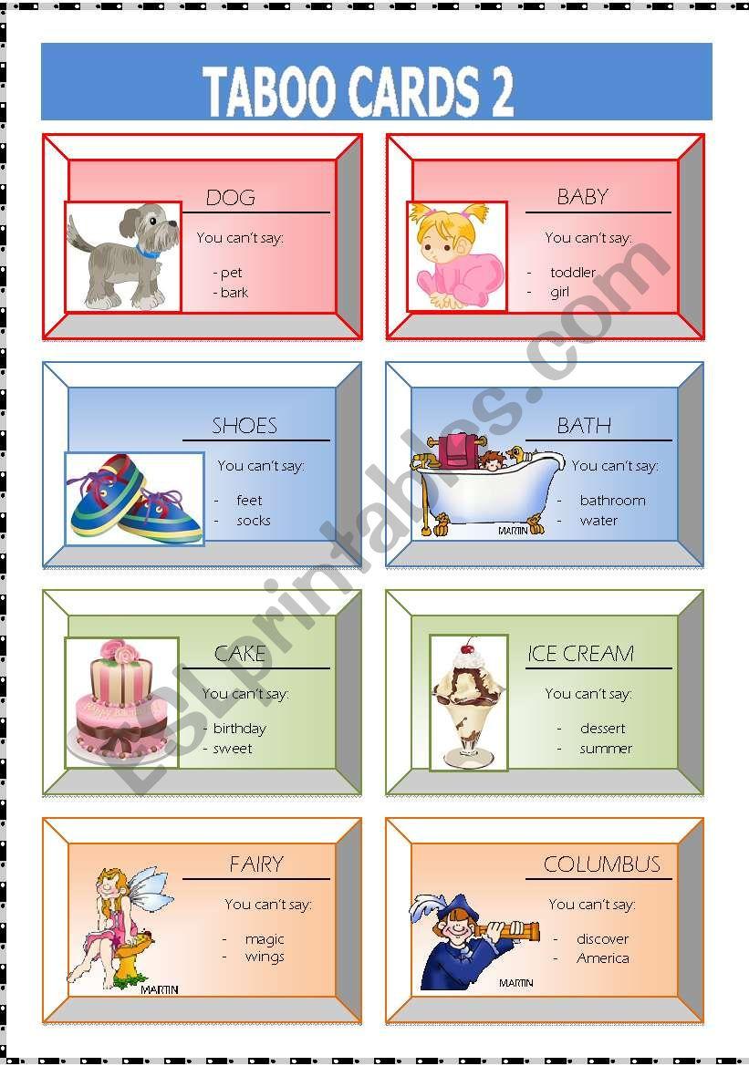 Taboo cards 2 worksheet