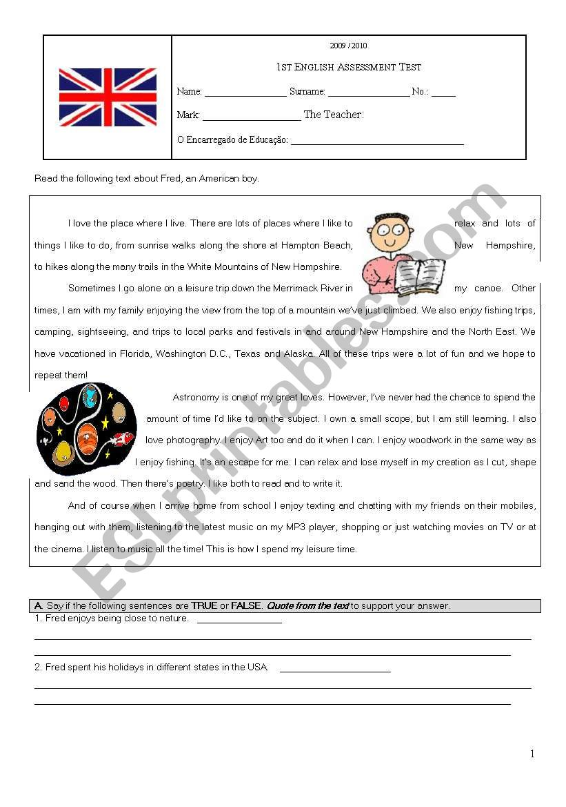 Assessment Test on Hobbies worksheet