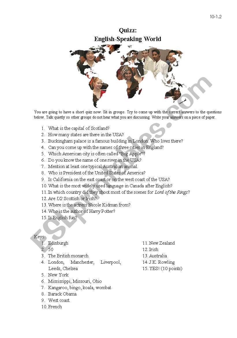 English speaking world worksheet