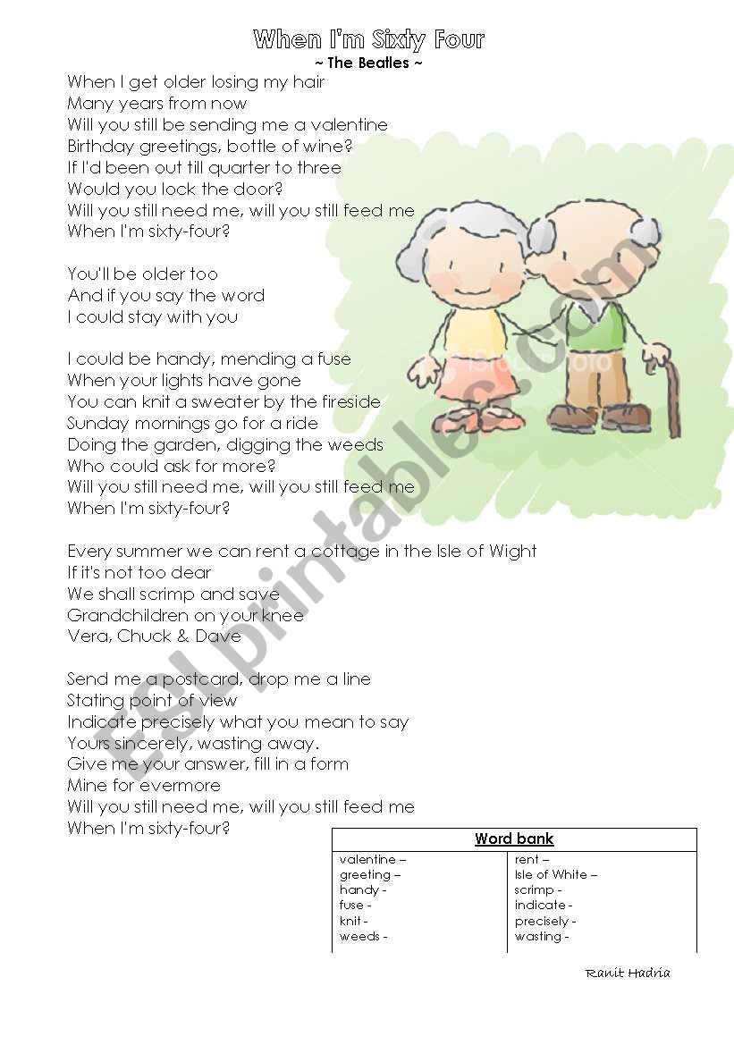 When I´m 64 - guided writing (letter) lesson plan