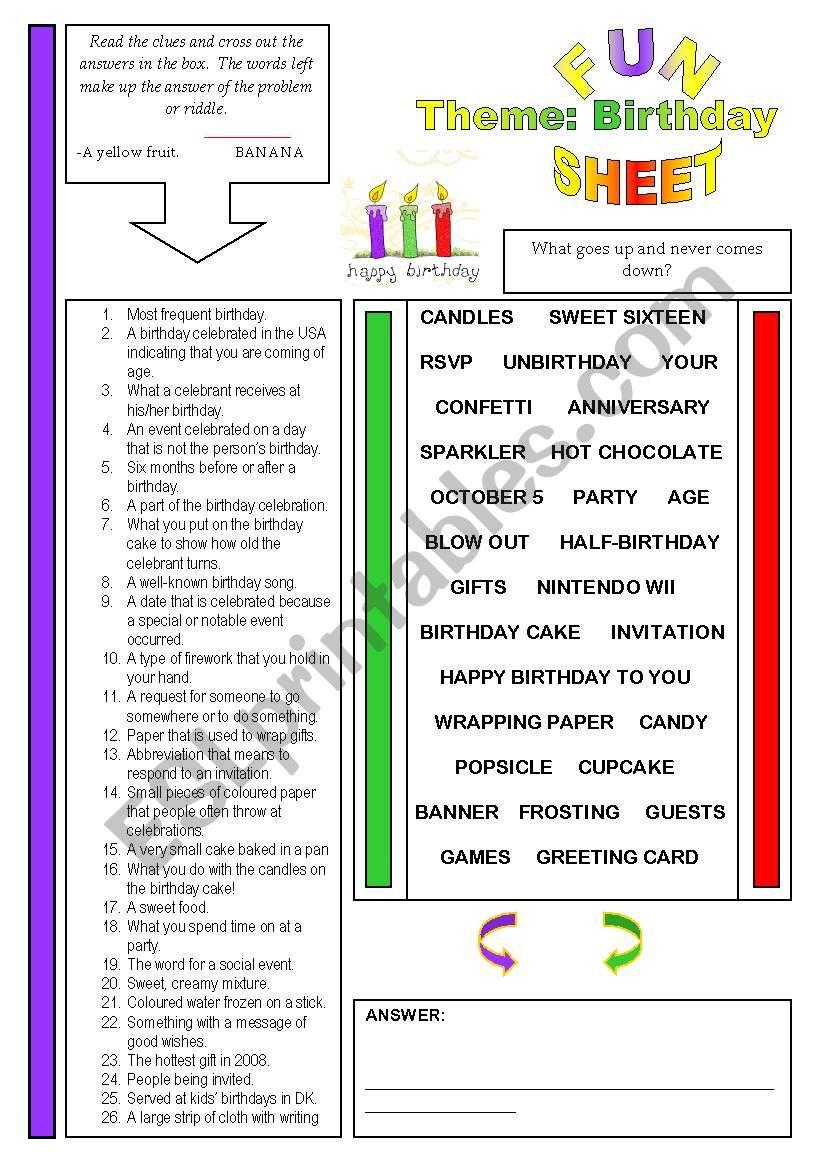 Fun Sheet Theme: Birthday worksheet