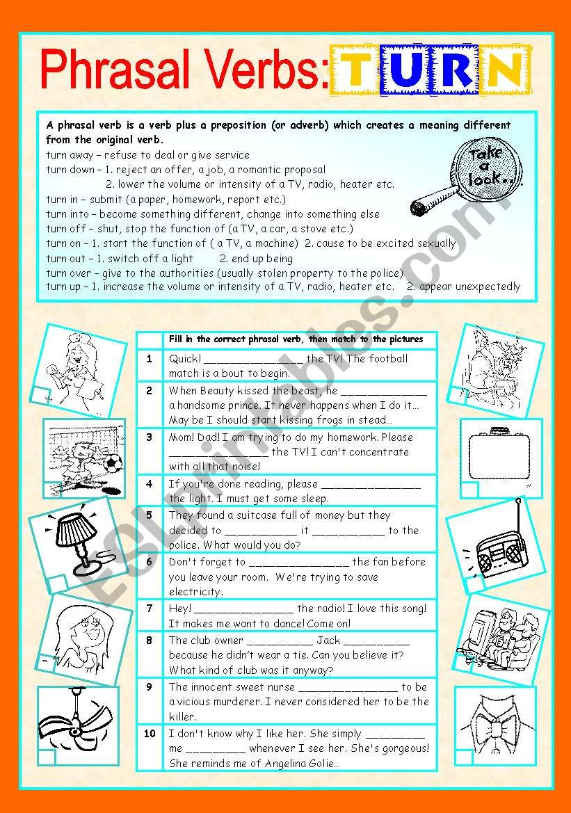 Phrasal verbs (7/10): TURN worksheet