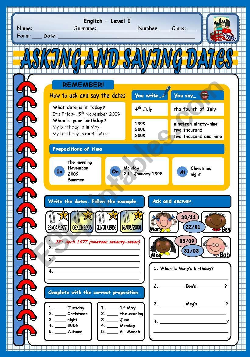 ASKING AND SAYING DATES worksheet