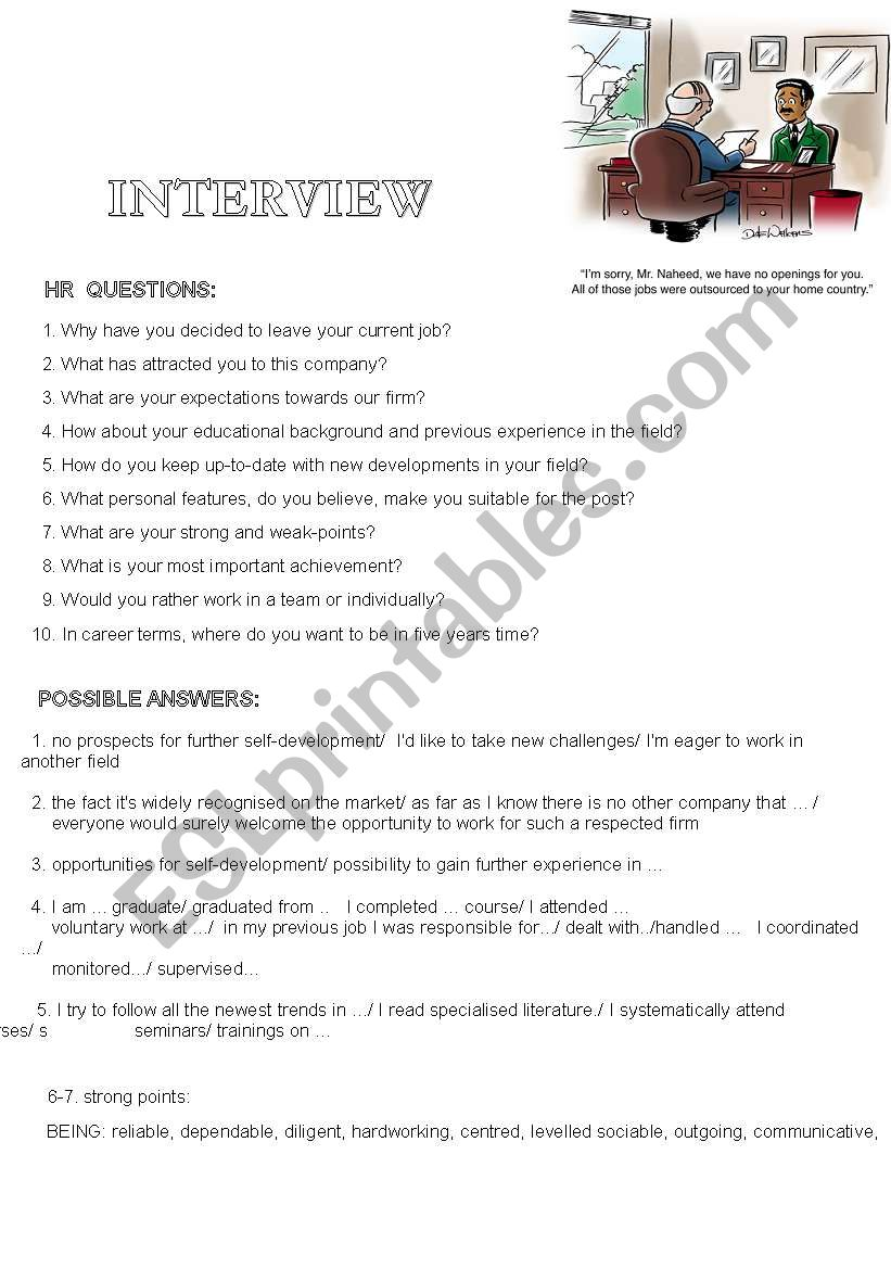 job interview  possible questions and sample answers