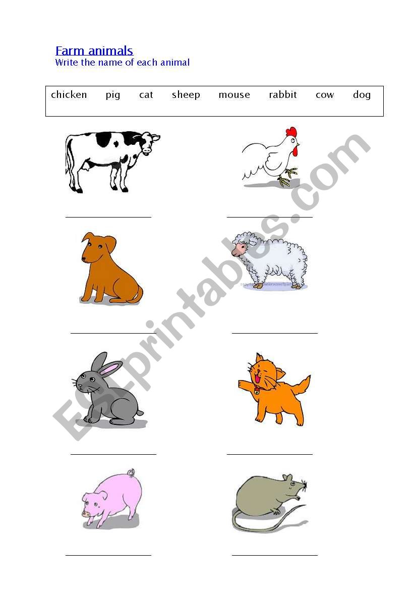 Farm Animals 1 - writing the names of animals - ESL