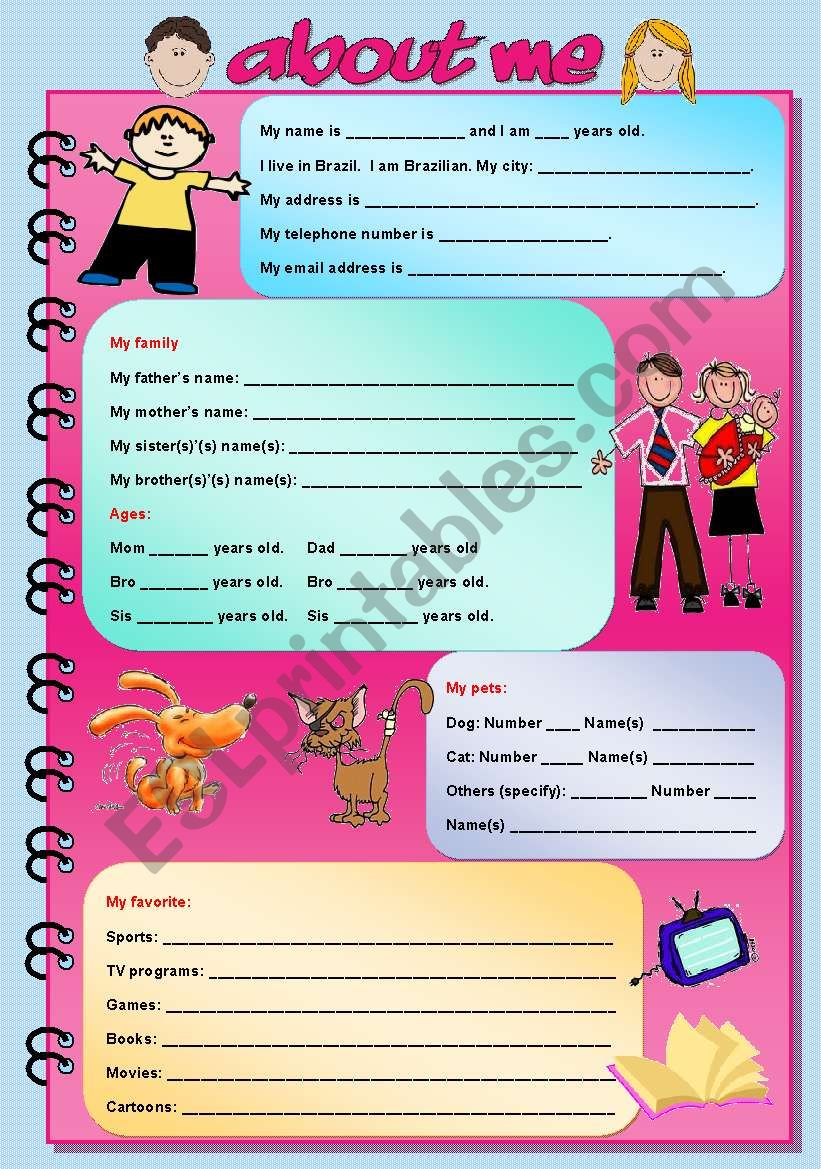 About me (fully editable) worksheet