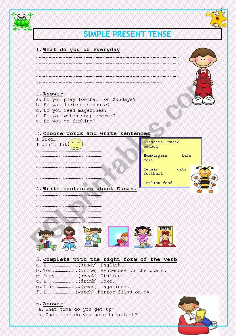 PRESENT SIMPLE TENSE ( 2 pages)
