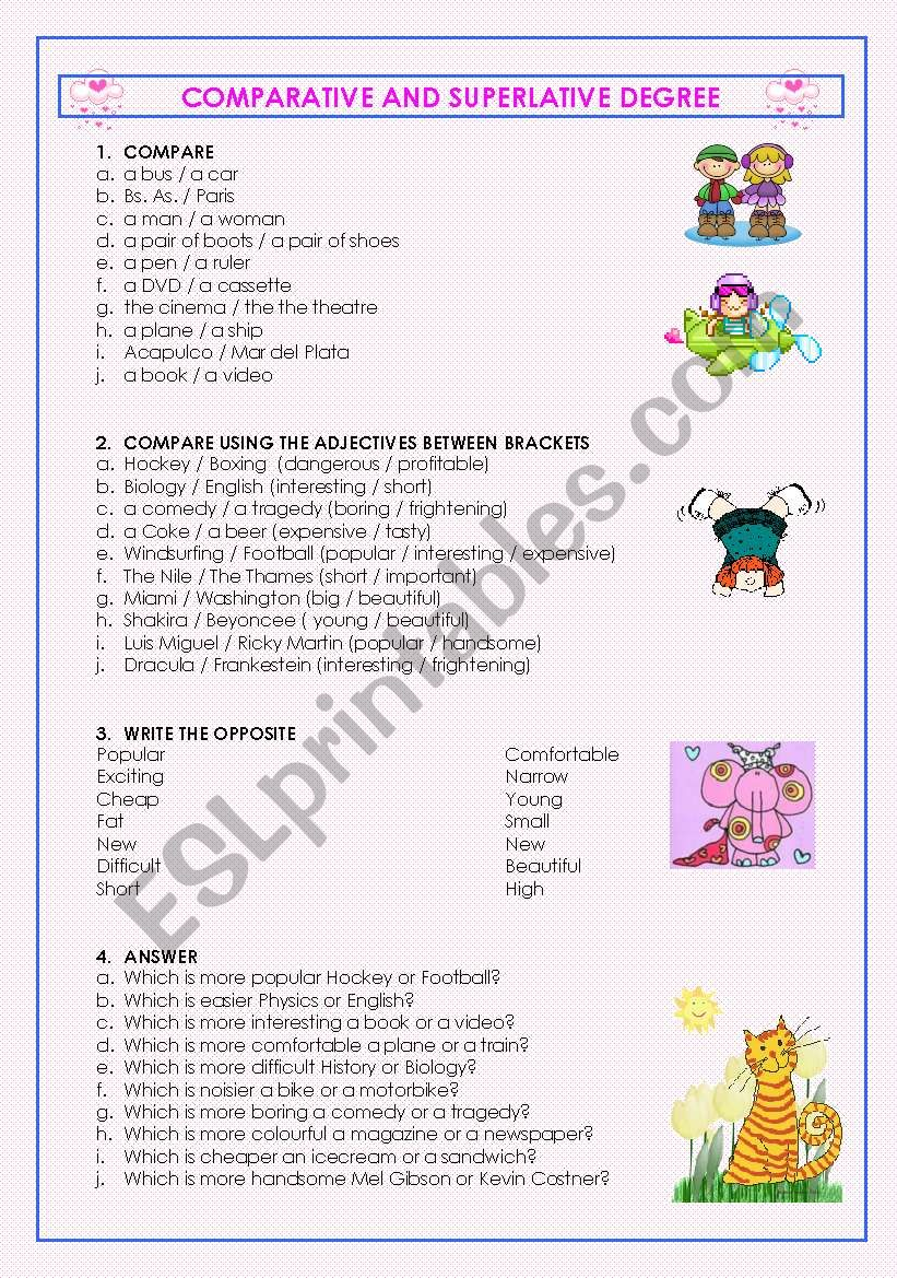 Comparative and Superlative Degree (2 pages)