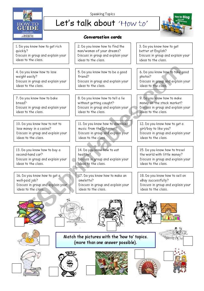 Let´s talk about ´HOW TO´ worksheet