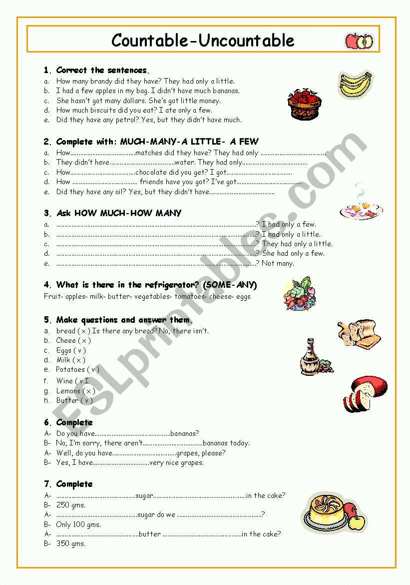 Countable-Uncountable Nouns worksheet