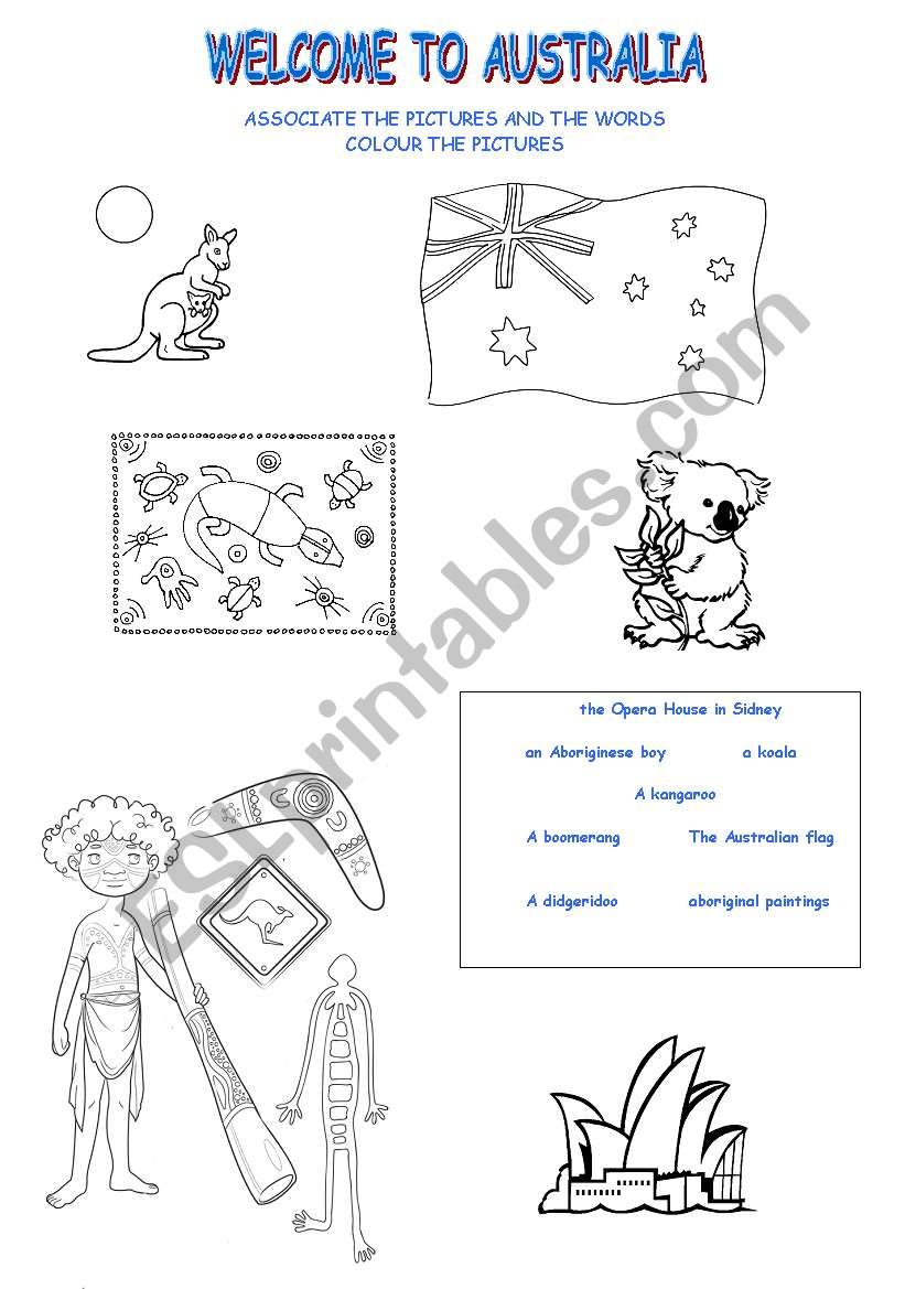 English worksheets: AUSTRALIA ICONS