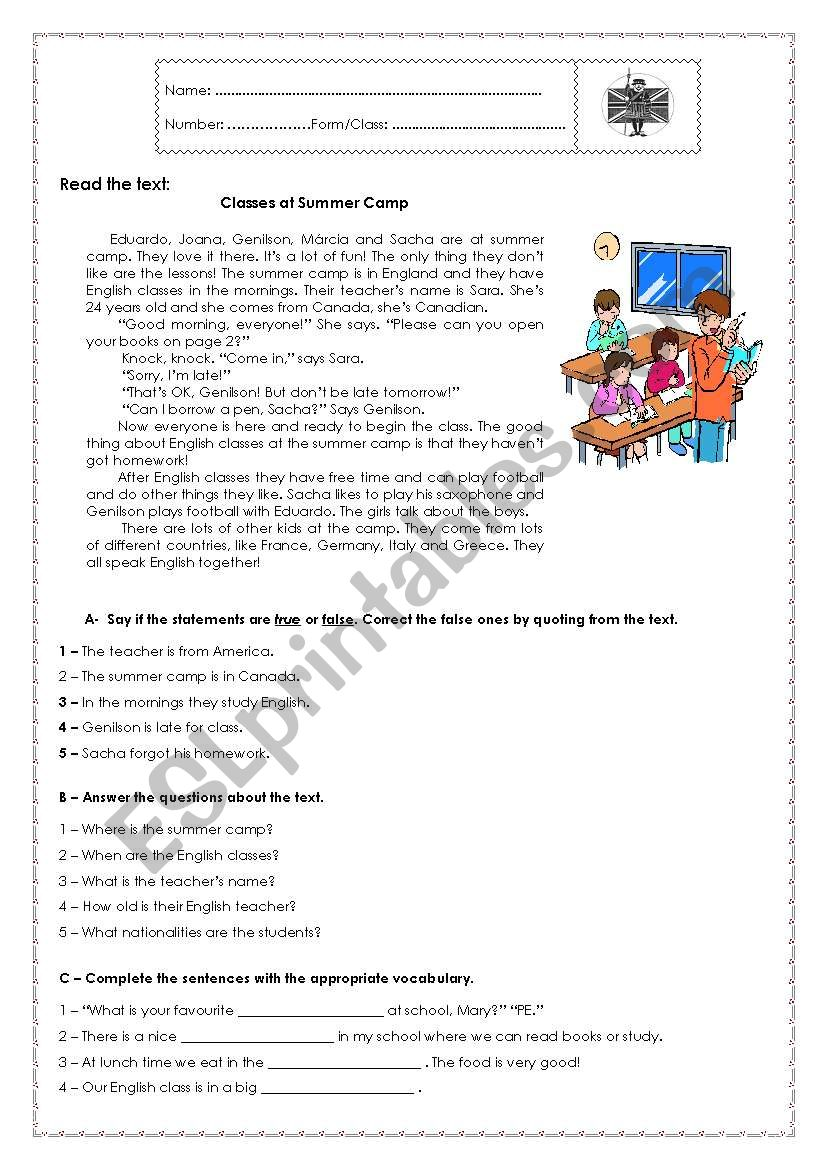 7th Grade Test - School Life worksheet