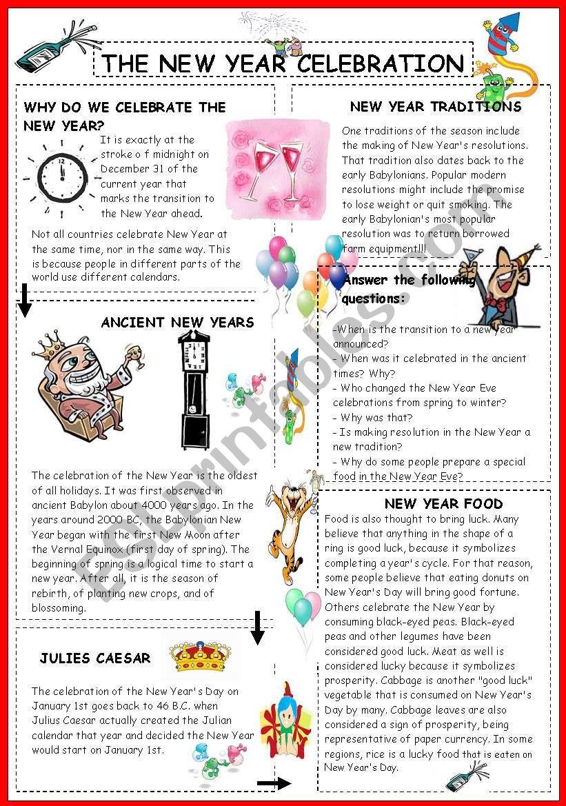 The new year celebration worksheet