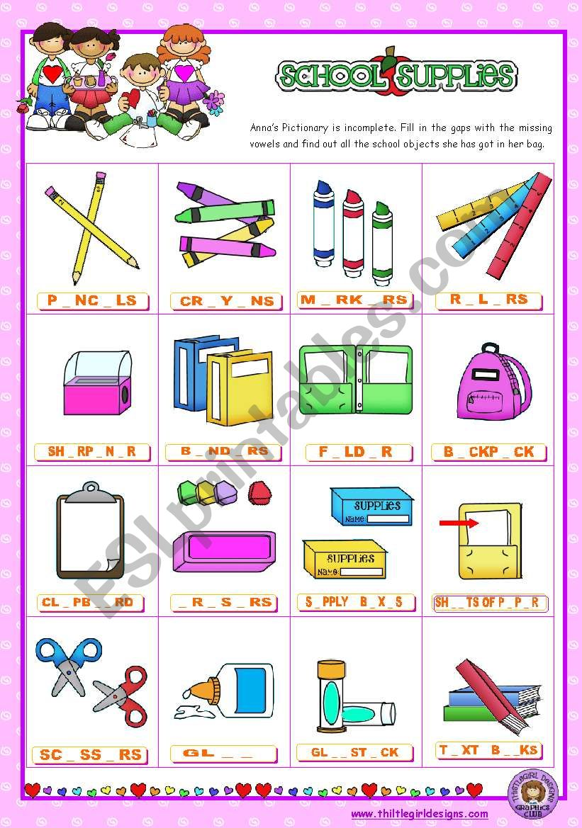 Classroom objects and symbols Set  (8)   - Basic school Supplies Vocabulary