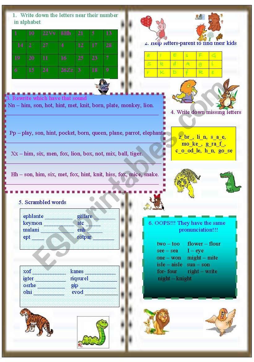 Writing activity. Animals worksheet