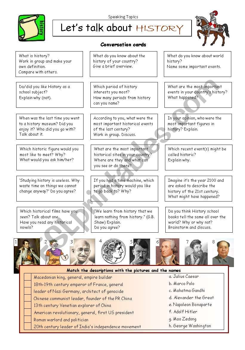 Let´s talk about HISTORY worksheet