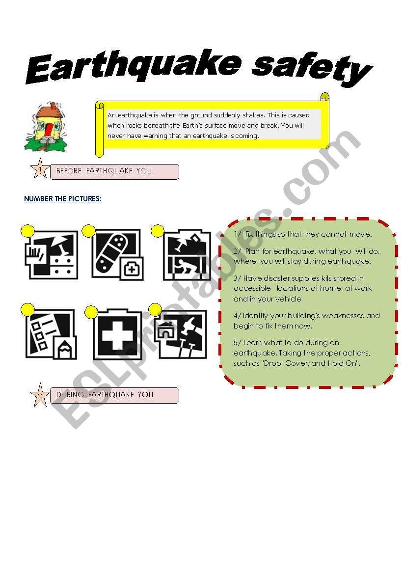 EARTHQUAKE SAFETY worksheet