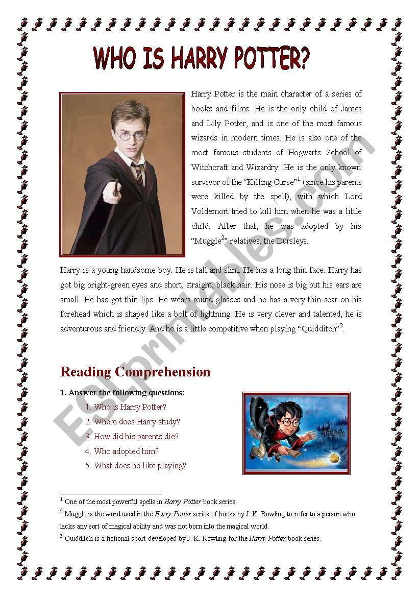 Who is Harry Potter? worksheet