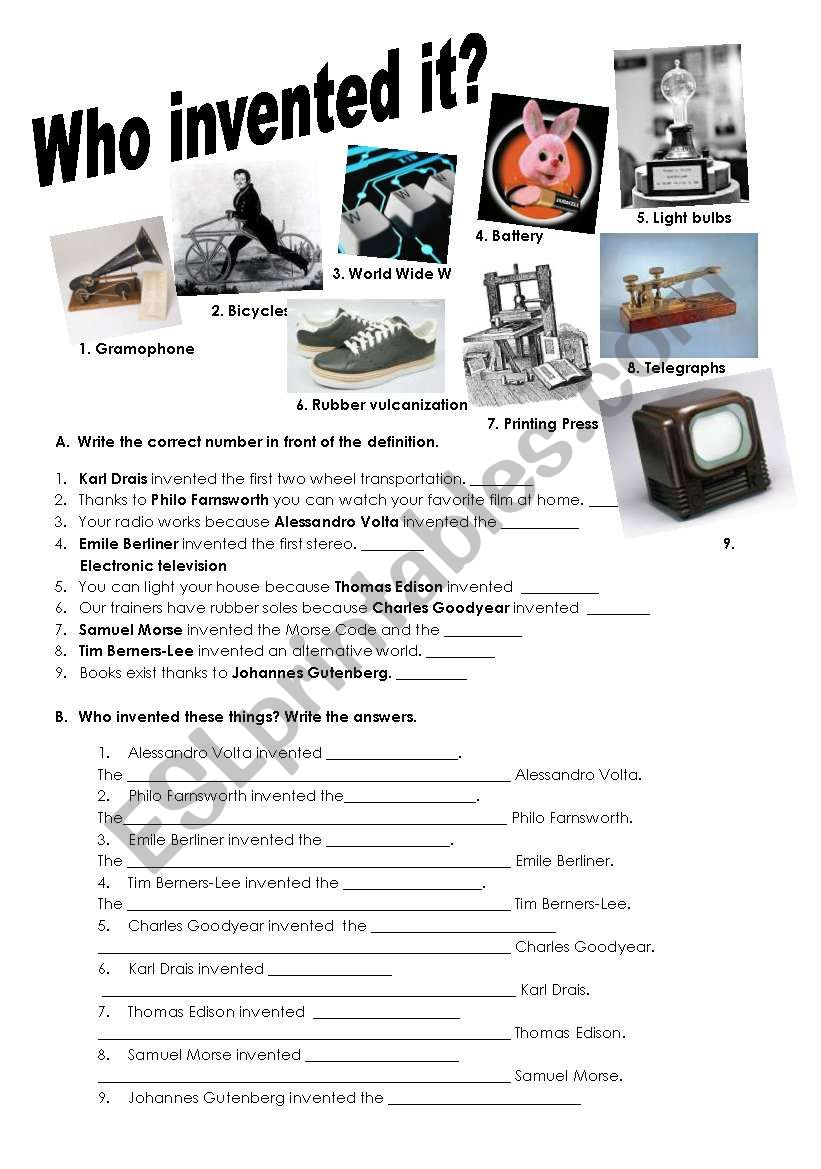 Inventions and passive voice worksheet