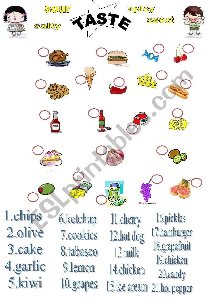 taste  and food  worksheet