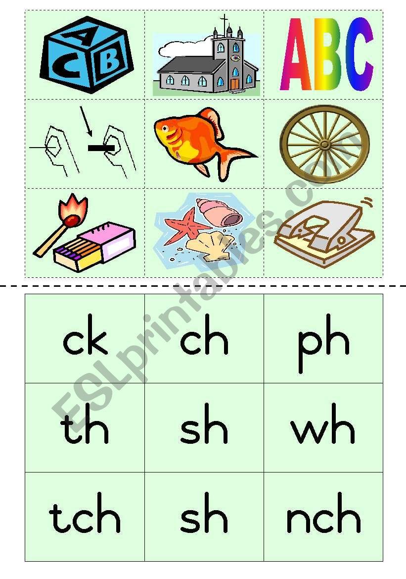 Consonant diagraphs Game 4 worksheet