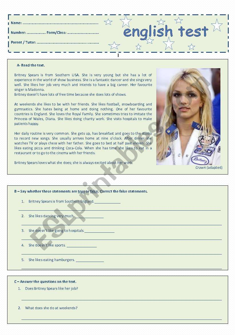7th Grade Test - Free Time Activities - Britney Spears