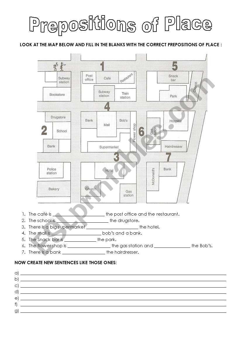 prepositions of place city map esl worksheet by cccf. Black Bedroom Furniture Sets. Home Design Ideas
