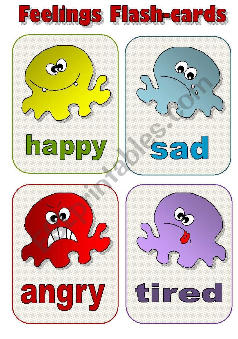 FEELINGS FLAS-CARDS! - a set of 12 EDITABLE!!!!!! flash