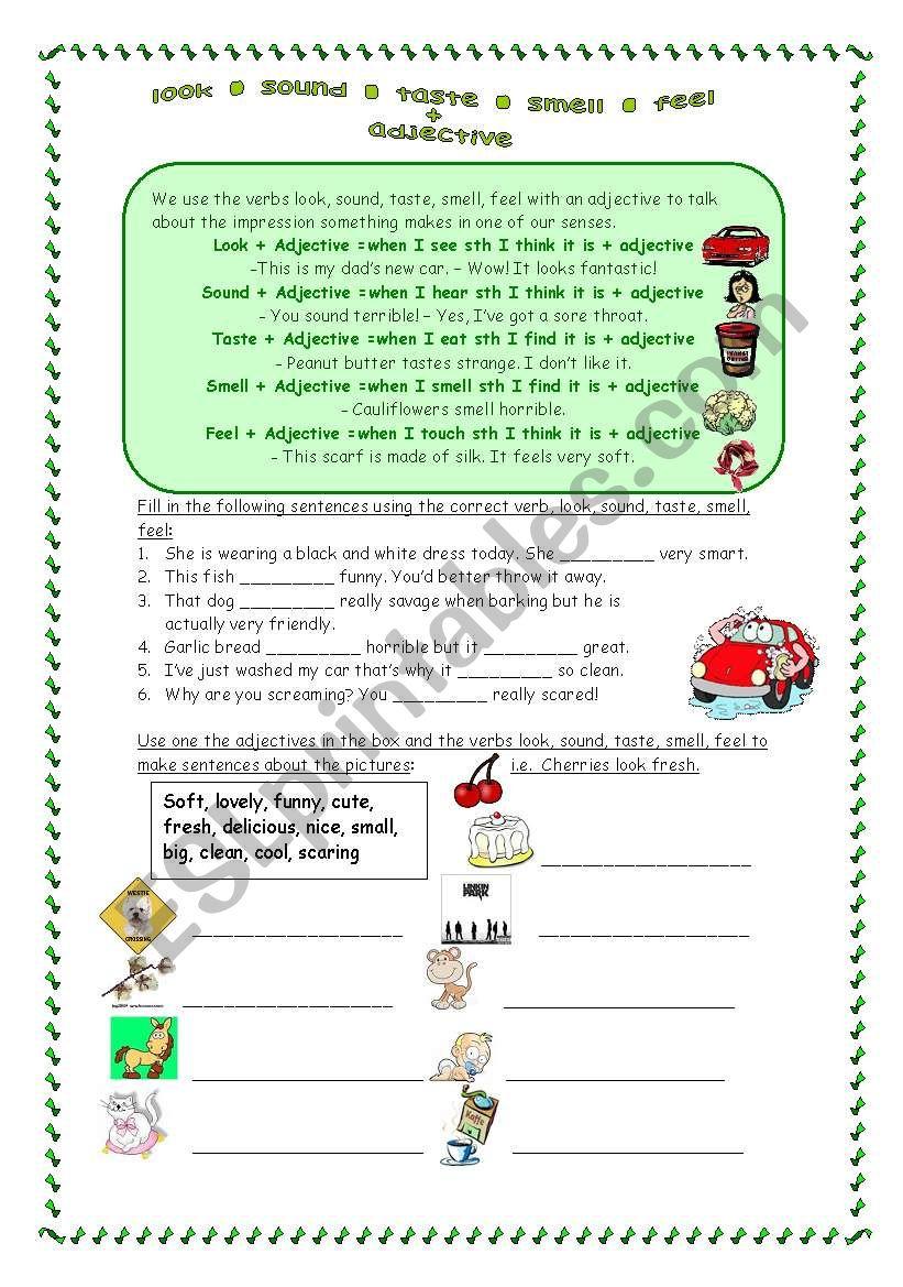 look - sound - taste - smell - feel - ESL worksheet by maripa