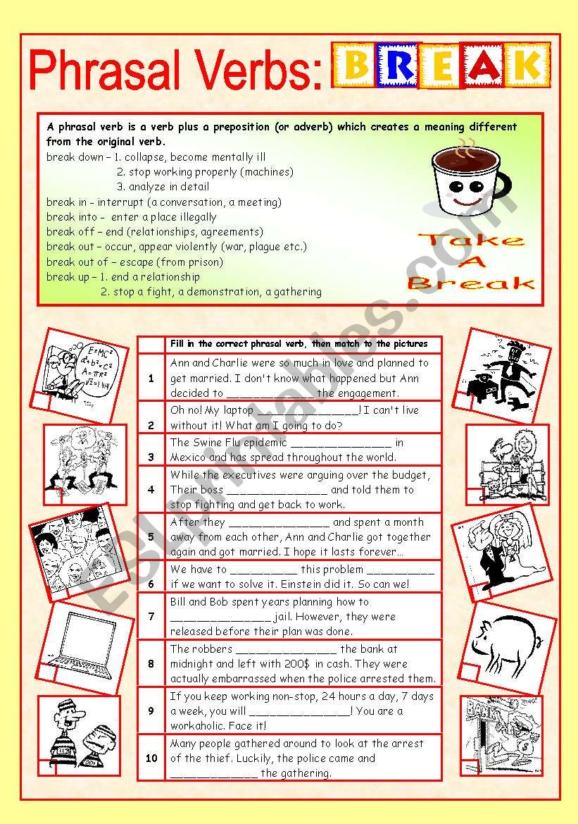 Phrasal verbs (8/10): BREAK worksheet