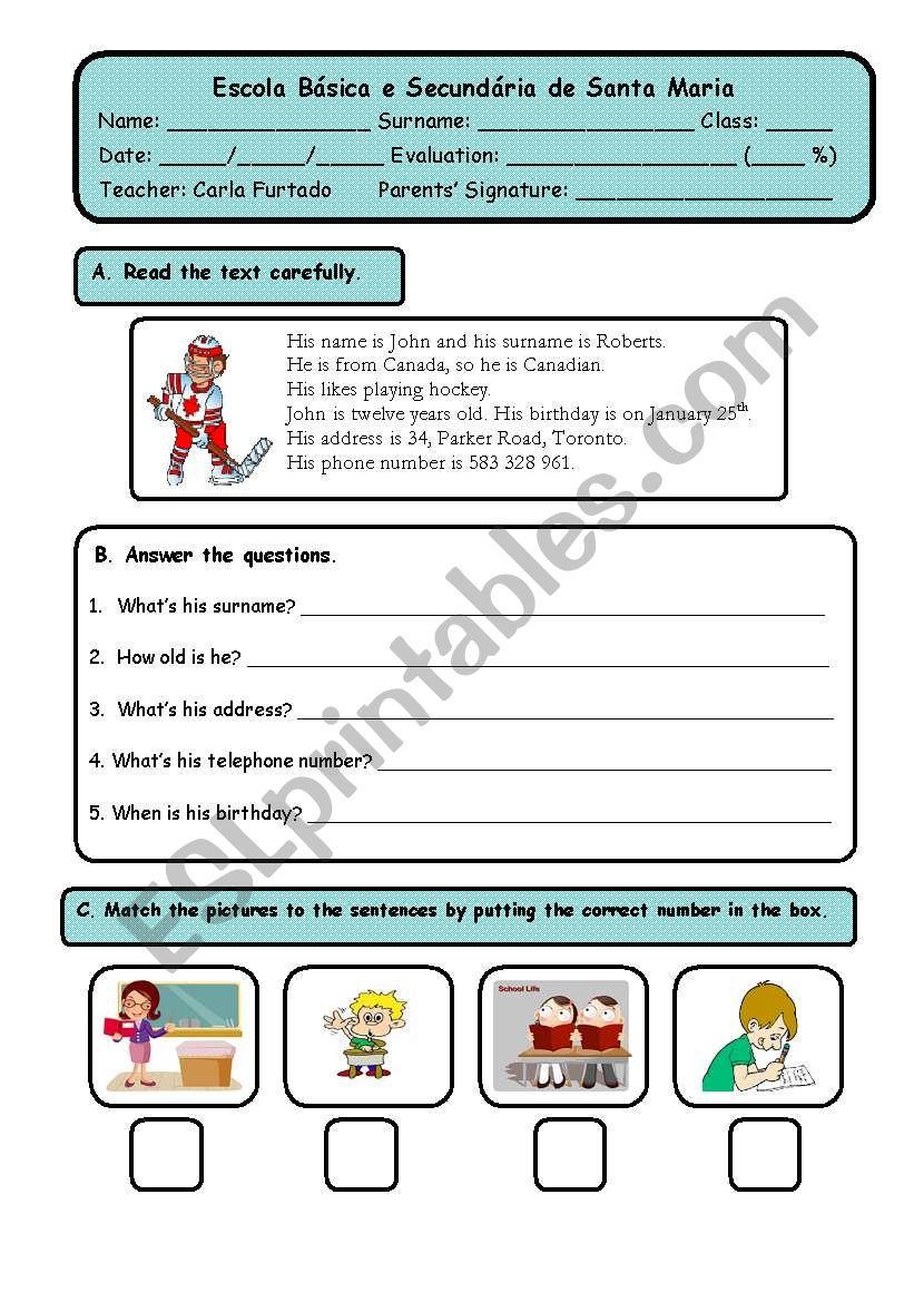test 5th grade worksheet